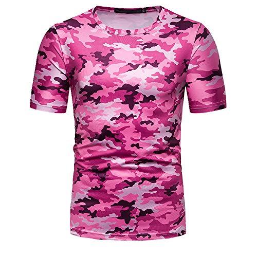 NOBRAND New Summer Herren T-Shirt Camouflage bedruckt Kurzarm Gr. XL, rose