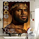 Juego de cortina de ducha de Los Angeles Lakers Championship con ganchos 2020 FMVP Lebron James 23Rd King Crown Art Sports Player Poster de 150 x 180 cm