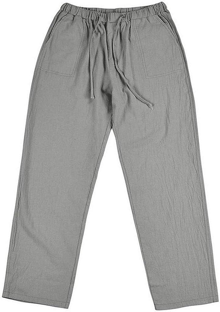 Xiloccer Women's Sweatpants Plus Size Joggers Pants Women Tightness Cotton Linen Wourout Trousers Pockets Casual Pants