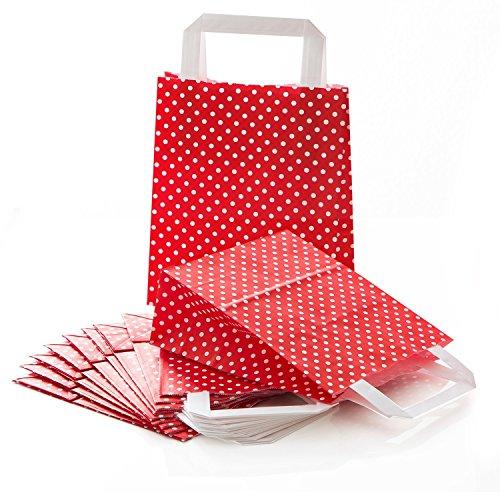 10 kleine rot weiß gepunktet Papiertüte Papiertasche Geschenktüte 18 x 8 x 22 cm Geschenkbeutel Verpackung Geschenk Weihnachten Tüte Weihnachtsverpackung