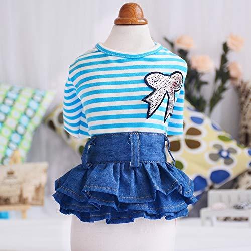 SUNXK 2019 huisdier kleding herfst en winter jurk prinses jurk Teddy schnauzer hond katoen kleur strip denim rok, XL, Blauw