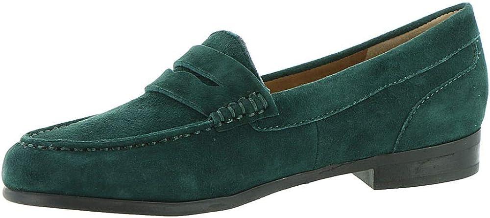 Array Womens Harper Suede Moc Toe Loafers Green 12 Medium (B,M)