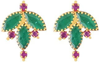 Lagu Bandhu 22k (916) Yellow Gold, Emerald and Ruby Stud Earrings for Women