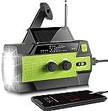 Radio solar AONCO AM/FM/NOAA, radio de manivela portátil, USB, recargable, con batería externa de...