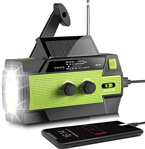 AONCO Solar Radio AM/FM Kurbelradio Tragbar USB Wiederaufladbar Notfallradio mit 4000mAh Power Bank, Led Taschenlampe, SOS Alarm und Leselicht für Camping, Survival, Reisen, Notfall