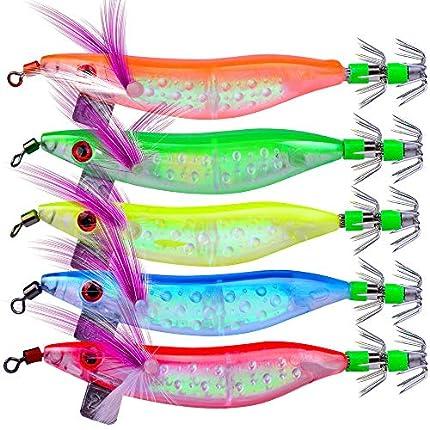 OriGlam 5 señuelos luminosos de pesca de agua salada, cebos de camarón de calamar, pulpo de camarón, cebos suaves de pesca para agua dulce y agua salada