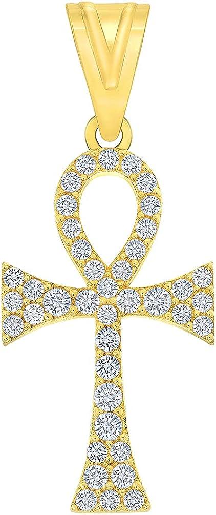 14k Yellow Gold Cubic-Zirconia Egyptian Ankh Cross Pendant