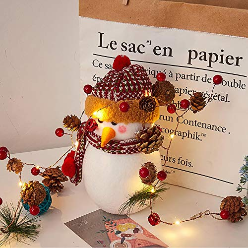 Christmas decoration pine Cones String Lights New Year Thanksgiving Decoration Pine Cones Jingle Bell and Berry Copper String Light Home Indoor Outdoor Garden Door Decoration 6.56 ft 20LED DIYGift