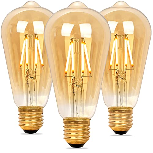Vintage Edison Bombilla Regulable, Bombilla LED E27 ST64 Retro Dimmable, Lámpara Blanco Cálido 4W 2200K (Equivalente a 40W), Bombillas de Filamento para Lluminación y Decoración, 3 Piezas