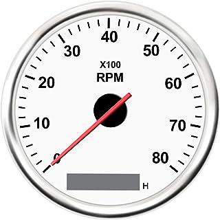 KAOLALI Tacómetro Universal RPM Gauge con Cronómetro 8000RPM 85mm 12V/24V con Luz de Fondo