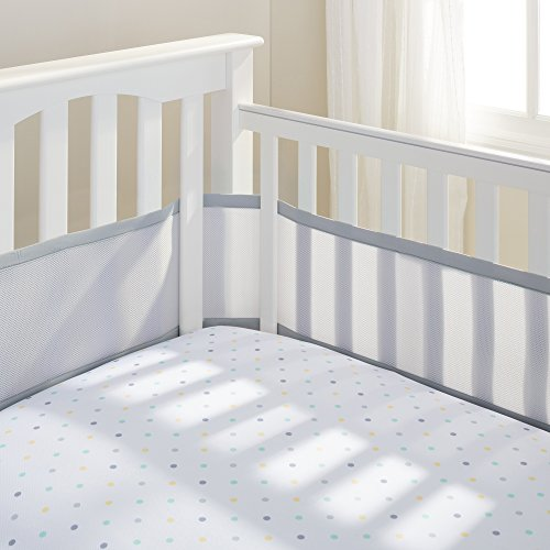 BreathableBaby Stoffumrandung für Kinderbettchen, Nestchen, 4Seiten, Grau