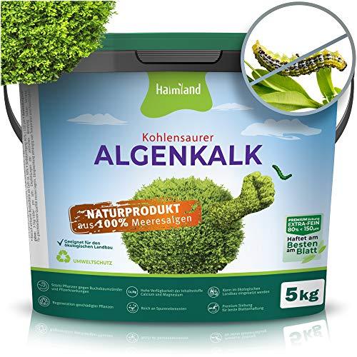 halmland Algenkalk - Erstaunliche Stärkung des Buchsbaum gegen Buchsbaumzünsler und Bacillus thuringiensis - Prophylaxe und Rettung bei Befall - 5kg Premium Siebung - inkl Expertentips | Gartenkalk