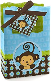 Blue Monkey Boy - Baby Shower or Birthday Party Favor Boxes - Set of 12
