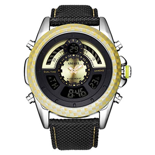 W.zz Reloj para Hombre Movimiento de Cuarzo Reloj de Esfera Grande Reloj con Correa de Cuero Impermeable y Resistente a los arañazos Hombres,C