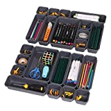 Set of 22 Interlocking Desk Drawer Organizer Tray Dividers Plastic Shallow Narrow Drawers Organizers Separators and Storage Bins Container for Kitchen Bathroom Makeup Office Vanity Bedroom Dresser