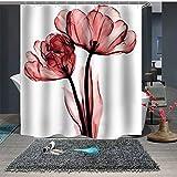 Topmail 3D Duschvorhang aus Polyester mit 12 Duschvorhangringe für Badezimmer wasserabweisend & Anti-Schimmel waschbare badvorhang (Blumen, 180 x180 cm)