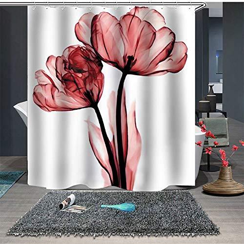 Topmail Cortinas de Ducha en Poliéster Impermeable Antimoho Cortina Baño Bañera con 12 Ganchos de Plástico, Flor Rojo 180x180cm