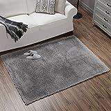 Teppich Wölkchen Hochflor-Plüsch-Teppich I Wohnzimmer Kinderzimmer Schlafzimmer Flur Läufer I rutschfeste Unterseite I 140 x 200 - Grau