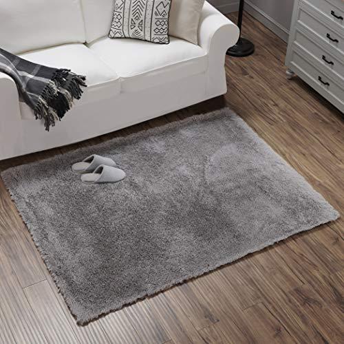Teppich Wölkchen Hochflor-Plüsch-Teppich I Wohnzimmer Kinderzimmer Schlafzimmer Flur Läufer I rutschfeste Unterseite I 120 x 160 - Grau