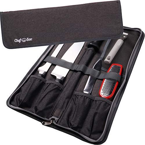 Chef Knife Bag Folder Case Bag | 6 Pockets for Knives & Kitchen Utensils | Honing Rod Pocket & Mesh Pocket | Durable Knife Case for Chefs & Culinary Students (Dark Grey)