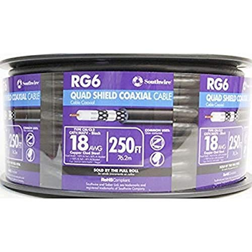 Southwire 56918447 Rg6 Quad Shield CATV Communication Cable 250 Ft Reel, 250'