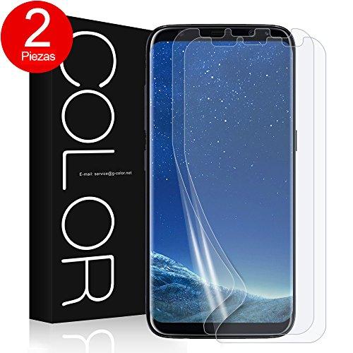 G-Color Galaxy S8 Protector de Pantalla, [2 Piezas], [Alta Definición y Sensibilidad] [Cobertura [Burbujas] [Anti-arañazos] TPU, Protector de Pantalla para Samsung Galaxy S8