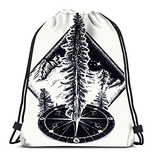 Drawstring Bags Backpack Pine Tree And Tattoo Symbol Of Tourism Forest Rock Climbing Camping Fir Art Sh Travel Gym Bags