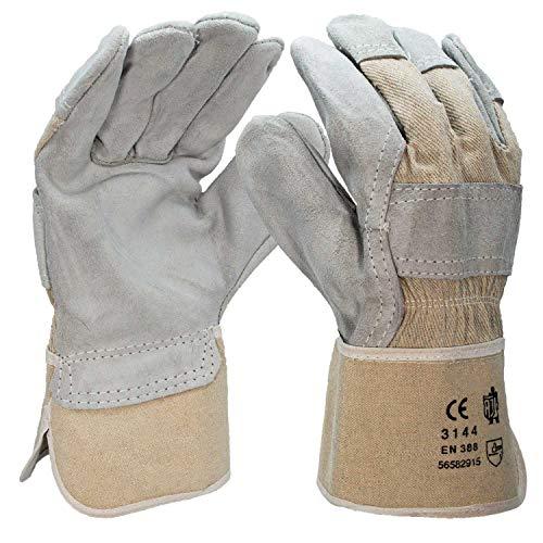 5 Paar Arbeitshandschuhe aus Leder - robuste Handschuhe für Gartenarbeit & Montage - Schutzhandschuhe nach EN 388, Gartenhandschuhe Montagehandschuhe Rindkernspaltleder Leder Gr. 10
