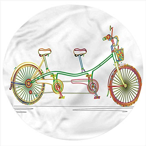 LCGGDB Bicycle Flannel Throw Blanket,Tandem Bike Design Printed Soft Receiving Blanket Baby Shower Swaddle Blanket for Crib or Stroller, Round 31.5 Inches