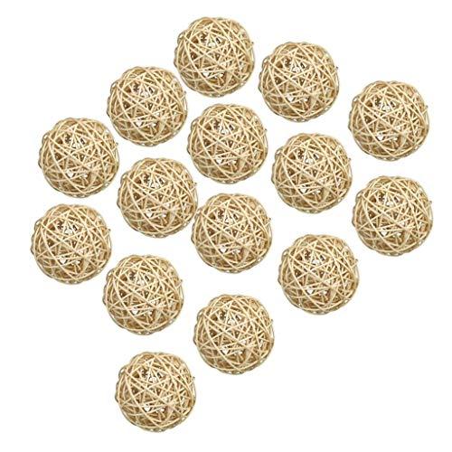 Fenteer Paquet de 15 Balle en Osier Rotin Déco Boules Osier Décorations Murales
