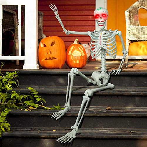 proxracer 5.4 Ft. Halloween Skeleton Life Size, Sound Activated with Glowing Eyes and Funny Color Painting for Halloween Prop Graveyard Decorations
