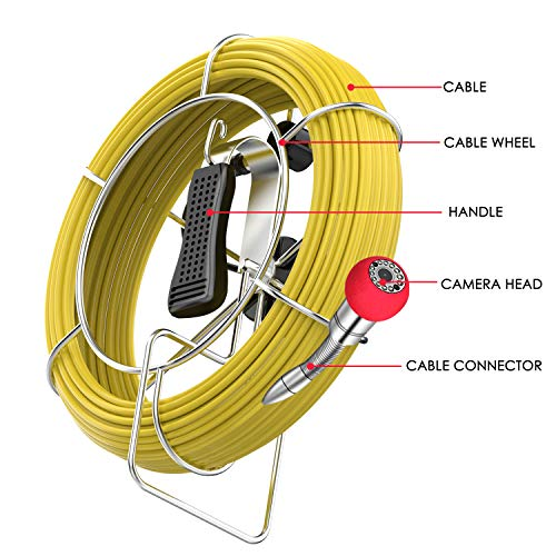 Pipe Sewer Inspection Camera Anysun Waterproof IP68 30M Drain Industrial Endoscope Video Inspection System 7 Inch LCD Monitor 1000TVL CCD DVR Recorder Video Snake Camera Cable for PIC30 PIC20