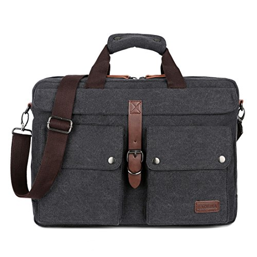 BAOSHA BC-07 Canvas Men's Briefcase Laptop Bag for 14-17 inch Notebook Laptop Carry Case (Black)