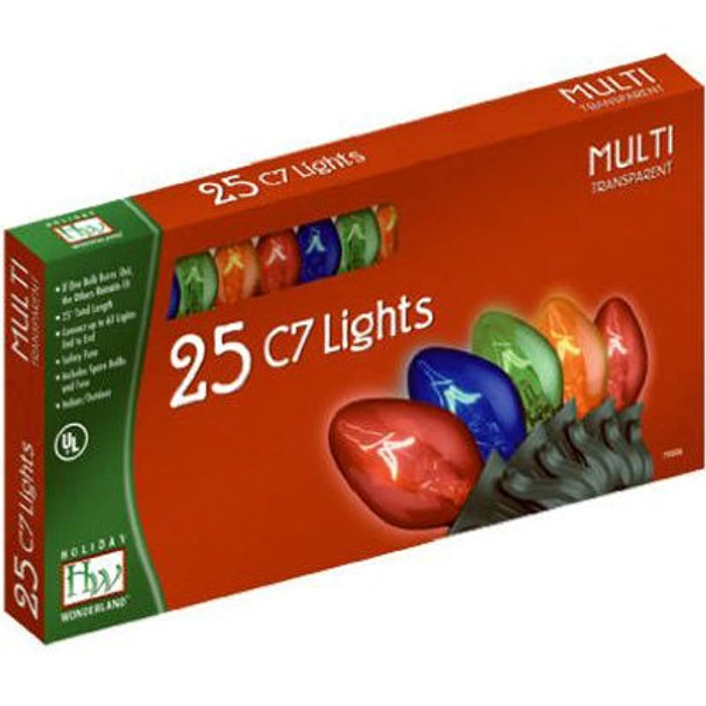 Holiday Wonderland, 25 Count C7 Multi Color Transparent Light Set