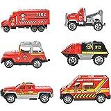 AILSAYA 6 En 1 Coche De Ingeniería, Camión De Bomberos, Conjunto De Modelo De Coche De Aleación Vehículo De Bomberos Fundido a Presión Mini Juego De Juguete Camión Emergencia De Rescate En Camión