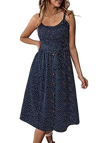 Daxvens Sommerkleid, Sonnenblumen-Kleid, für Damen, Freizeit, Strand, Party, Spaghetti, Midi, Boho, Sommerkleid mit Tasche - blau - X-Groß