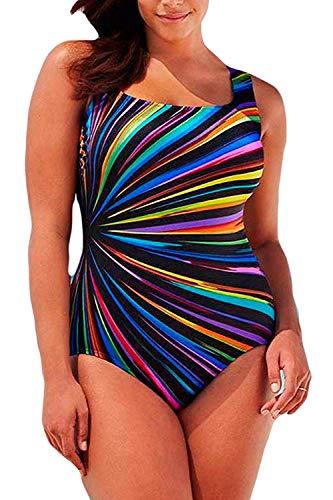 Women's Plus Size One Piece Swimsuits Pro Athletic Bathing Suit Blouson Bandeau Off Shoulder Backless Swimwear Slimming Control Beachwear A Rainbow 2XL (US Size 14-16)