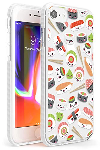 Case Warehouse Patrón de Sushi de Kawaii Mix Impact Funda para iPhone 7 Plus TPU Protector Ligero Phone Protectora con Claro Japonés Comida JDM Dibujos Animados