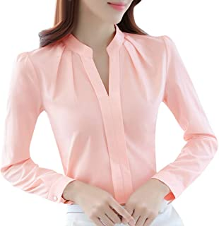 Women Fashion Solid Shirts Business Blouse ❀ Ladies Summer V Neck T-shirt Blouse Tops Brief Office Work Wear