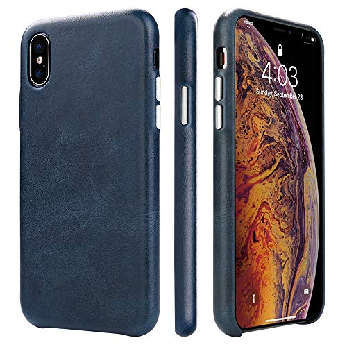 TOOVREN iPhone X Leather Case iPhone X/XS Genuine Leather Cover Case Protective Ultra Thin Vintage Anti-Slip Grip Shell Hard Back Cover for Apple iPhone X /10 5.8'' Blue