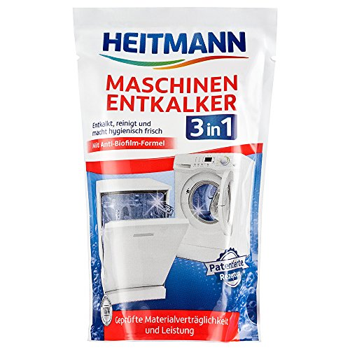 Heitmann Maschinen Entkalker für Waschmaschinen und Geschirrspüler: hochwirksame Entkalkung mit 1 Durchlauf, Reiniger gegen Kalkablagerungen und unangenehme Gerüche