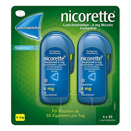 NICORETTE Lutschtabletten mit 4 mg Nikotin – freshmint Geschmack – diskret mit dem Rauchen aufhören – für Raucher von mehr als 20 Zigaretten/Tag