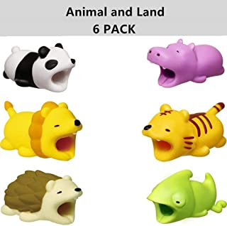 Cable Protector for iPhone iPad Cable Android Plastic Cute Land Animals Phone Accessory Protects USB Charger Data Protection Cover Chewers Earphone Cable Bite 6 PC (PHLTCH)