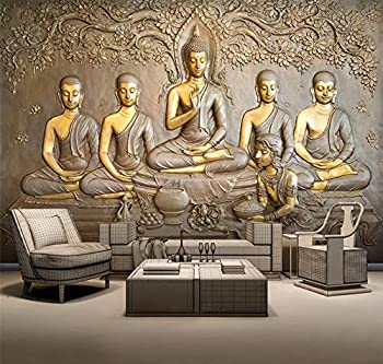 3D Thai Style Metal Engraving Buddha Sculpture Photo Wallpaper Wall Murals Living Room Study Room Background Self-Adhesive Canvas Wall Decoration  118.11x82.68in