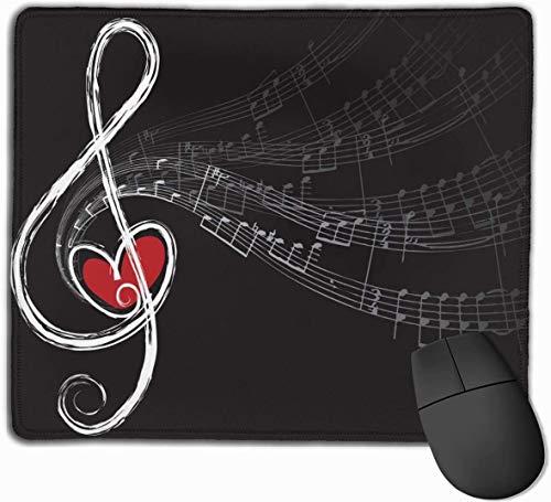 Alfombrilla de ratón para juegos Love and Music Alfombrilla de ratón rectangular de goma antideslizante personalizada Diseño de 9,5 × 7,9 pulgadas con bordes cosidos Negro