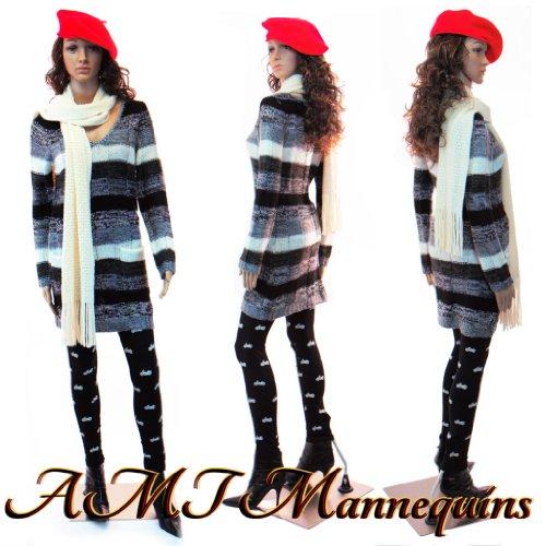 Eurotondisplay weibliche Schaufensterpuppe mit 2 Perücken gratis SF-10=2 beweglich Hautfarbe Female Mannequin