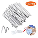 Nose Bridge Strips for Mask, Oceantree Double Wire Flat Plastic Strips Straps Adjustable Nose Clips Wire for DIY Face Mask Making Accessories for Sewing Crafts (100PCS)