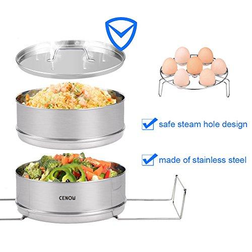 Insert Pan for Instant Pot Accessories, Cenow Instant Pot in Pot Accessories Steamer Basket Set with Egg Steamer Rack Stand, Steamer Insert Fits Instant Pot 6 Qt, 8 Quart Pressure Cooker Accessories