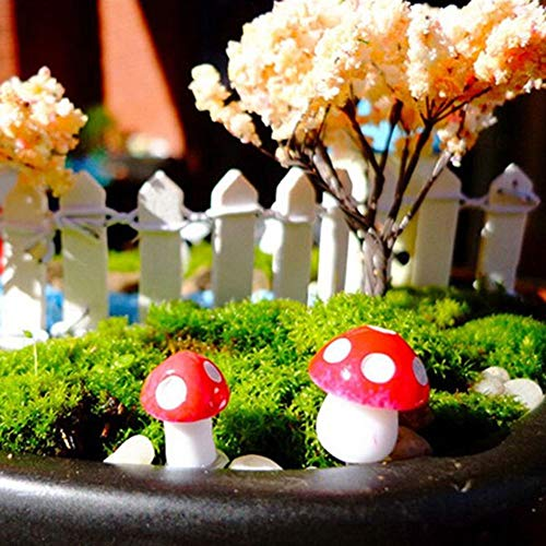 50 Pc Mini Red Mushroom Garden Dotted Small Potted DIY Toy House Landscape Bonsai Plant Garden Decoration Indoors Outdoor Decor for Patio,Lawn ,Yard Art Decoration , Housewarming Garden Gift (A)