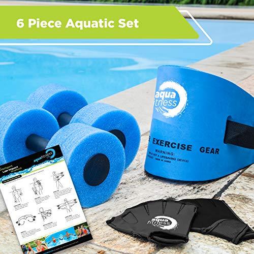 New & Improved AQUA 6 Piece Fitness Set for Water Aerobics, Pool Exercise Equipment, Aquatic Swim Belt, Resistance Gloves, Barbells, Model:AF4730 8